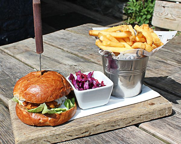 A great shot of a burger at The Fountaine Inn